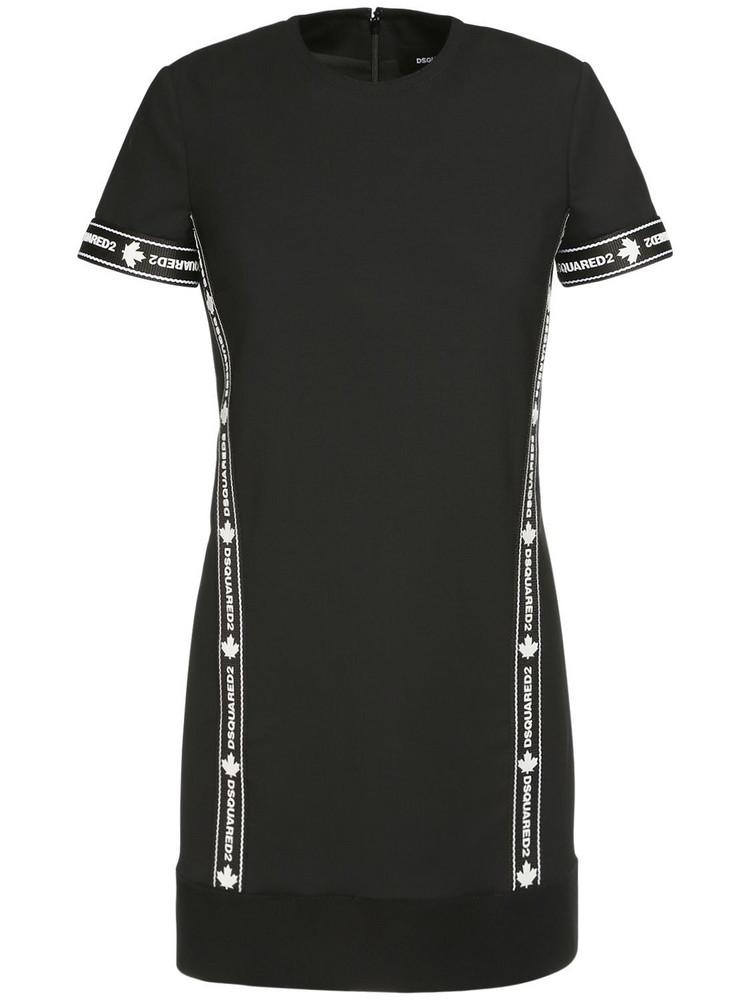 DSQUARED2 Stretch Wool Mini Dress W/ Logo Band in black