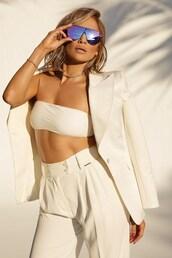 sunglasses,all white everything,jennifer lopez,celebrity,pants,top,blazer,white blazer