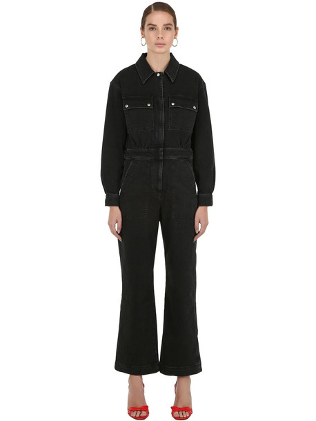 ALEXA CHUNG Wide Leg Cotton Denim Jumpsuit in black