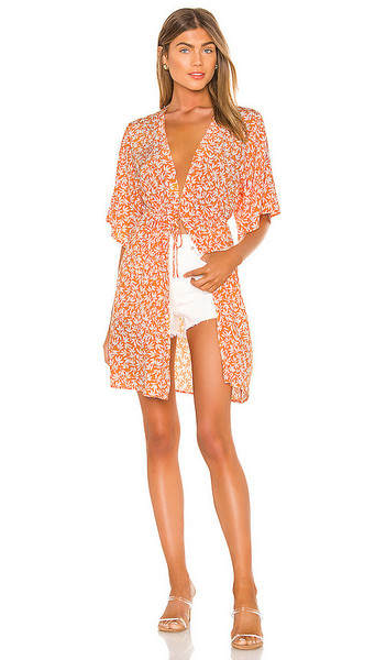 Privacy Please Isla Kimono in Tangerine in orange