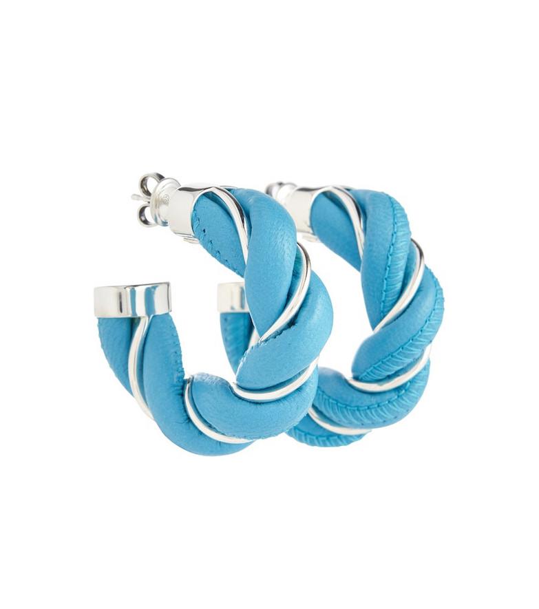 Bottega Veneta Leather and sterling silver earrings in blue