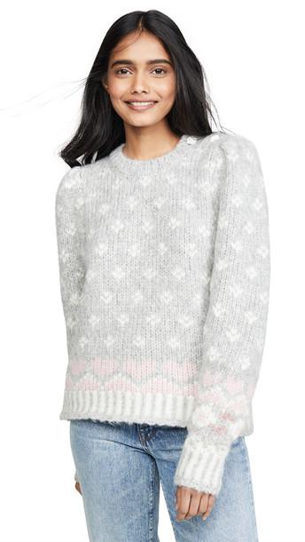 LOVESHACKFANCY Rosie Alpaca Sweater in grey