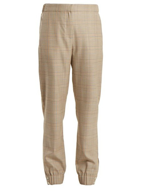 Tibi - Cooper Wool Blend Checked Tapered Leg Trousers - Womens - Beige Multi