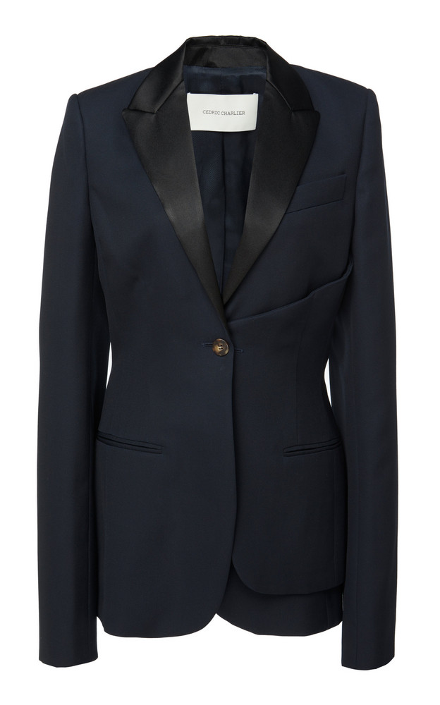 Cédric Charlier Two-Tone Wool Blazer in navy