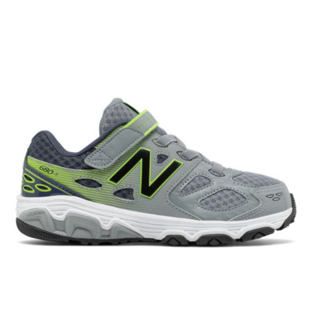 New Balance Hook and Loop 680v3 Kids Boys' Recently Reduced Shoes - Grey/Yellow (KA680GHY)