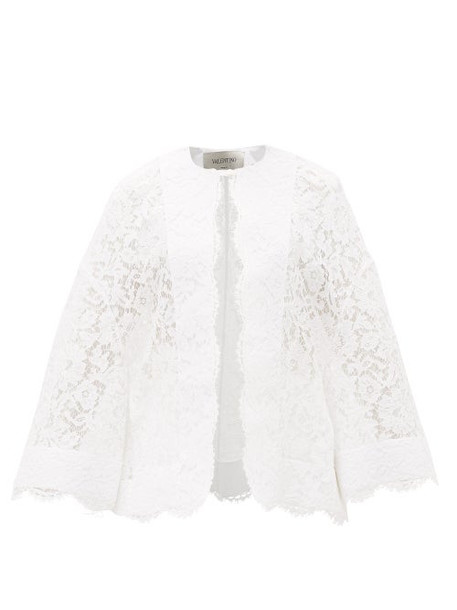 Valentino - Fluted-sleeve Guipure-lace Jacket - Womens - White