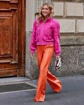 jacket,streetstyle,pink jacket,pants,wide-leg pants