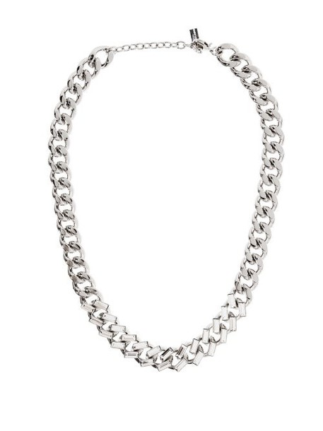Saint Laurent - Crystal Embellished Curb Link Chain Necklace - Womens - Silver