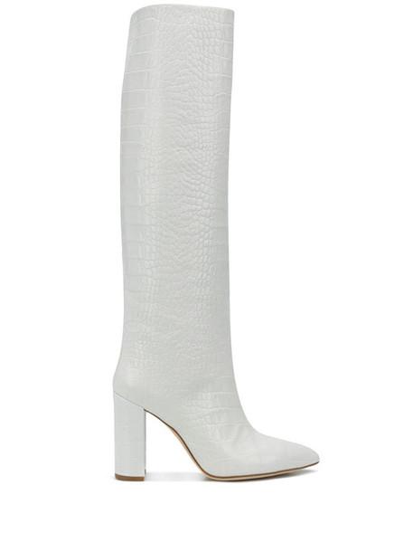 Paris Texas crocodile-effect tube boots in white