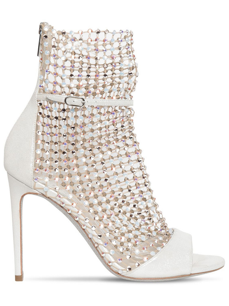RENÉ CAOVILLA 105mm Lamé Leather & Crystal Net Boots in ivory