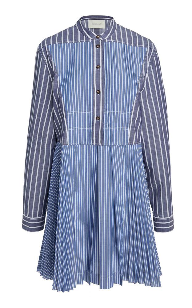 Cédric Charlier Striped Cotton-Blend Dress in blue