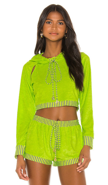 Luli Fama Cut Out Cropped Hoodie in Yellow