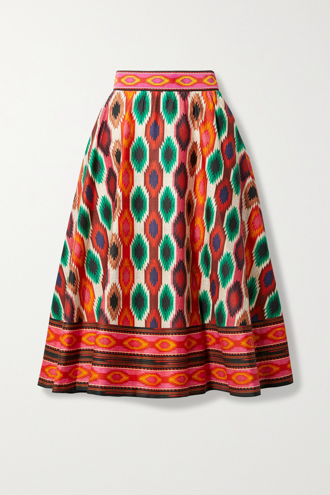 ALICE + OLIVIA ALICE + OLIVIA - Earla Embroidered Printed Cotton-blend Midi Skirt - US2 in red