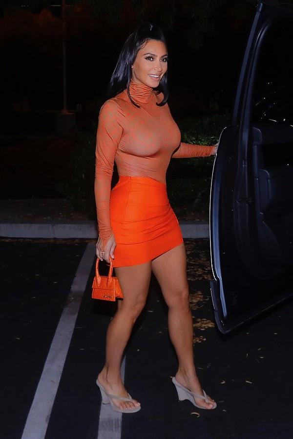 bag purse orange mini skirt top kim kardashian kardashians bodysuit bodycon red