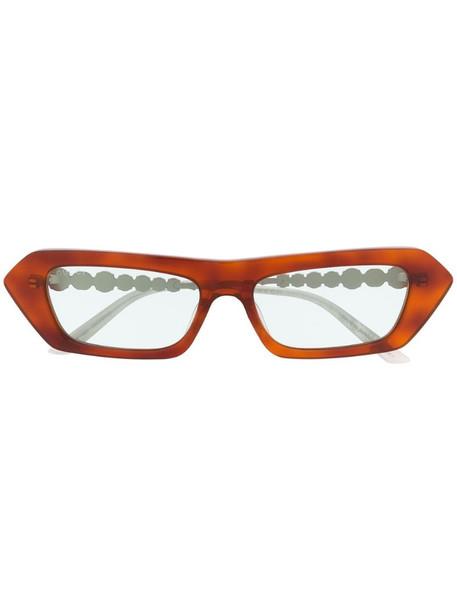 Gucci Eyewear crystal-embellished rectangular-frame sunglasses in brown