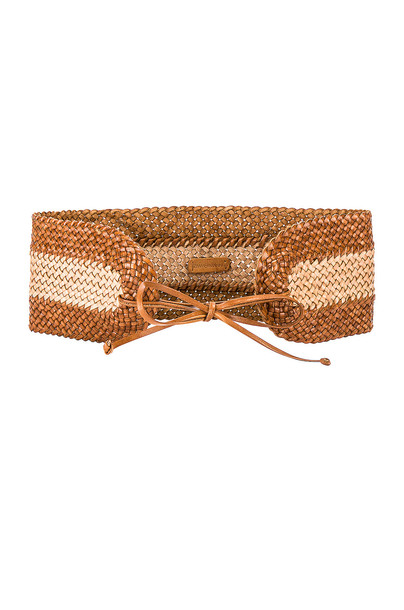 Zimmermann Woven Wide Waist Belt in tan