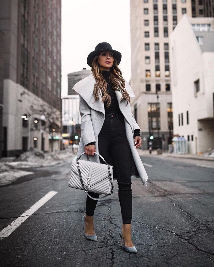 coat wool coat grey coat pumps black jeans skinny jeans black turtleneck top ysl bag hat
