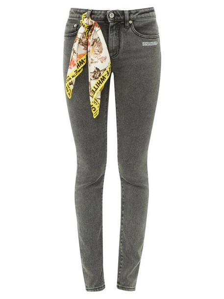 Off-white - Printed Scarf Skinny Jeans - Womens - Grey