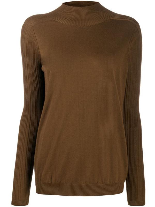 Gentry Portofino longline mock neck jumper in brown