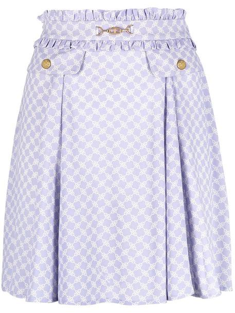 Elisabetta Franchi horsebit-print high-rise mini skirt in purple