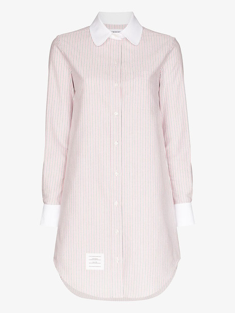 Thom Browne university stripe cotton shirt dress in red