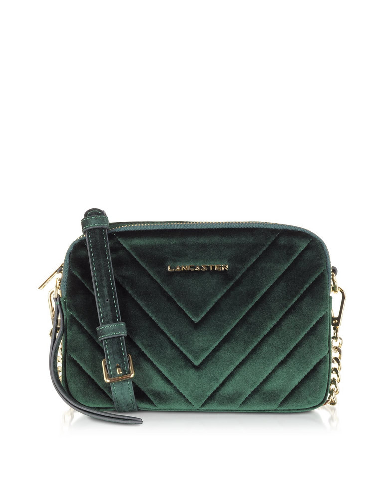 Lancaster Paris Quilted Velvet Couture Camera Bag in green