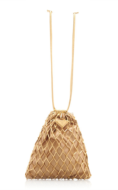Prada Net-Detailed Suede Drawstring Small Clutch in gold