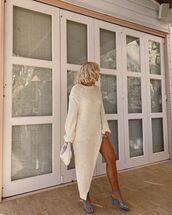 dress,asymmetrical dress,knitted dress,sandal heels,bag