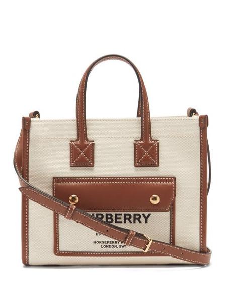 Burberry - Freya Mini Canvas And Leather Tote Bag - Womens - Tan Multi