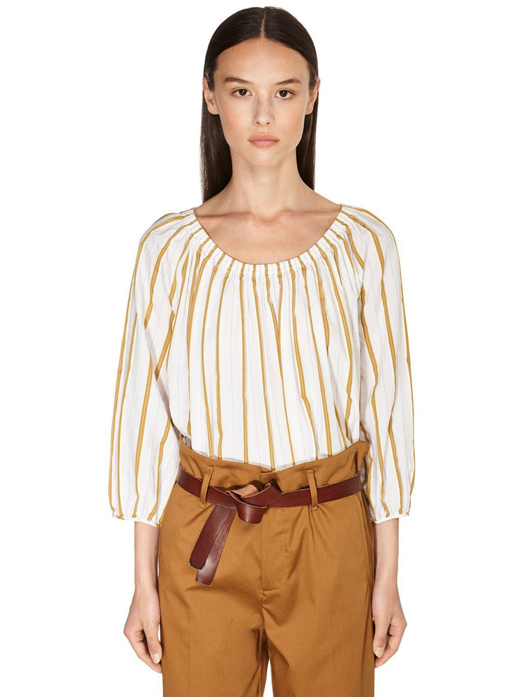 FORTE FORTE Striped Cotton Blend Shirt in gold / ivory