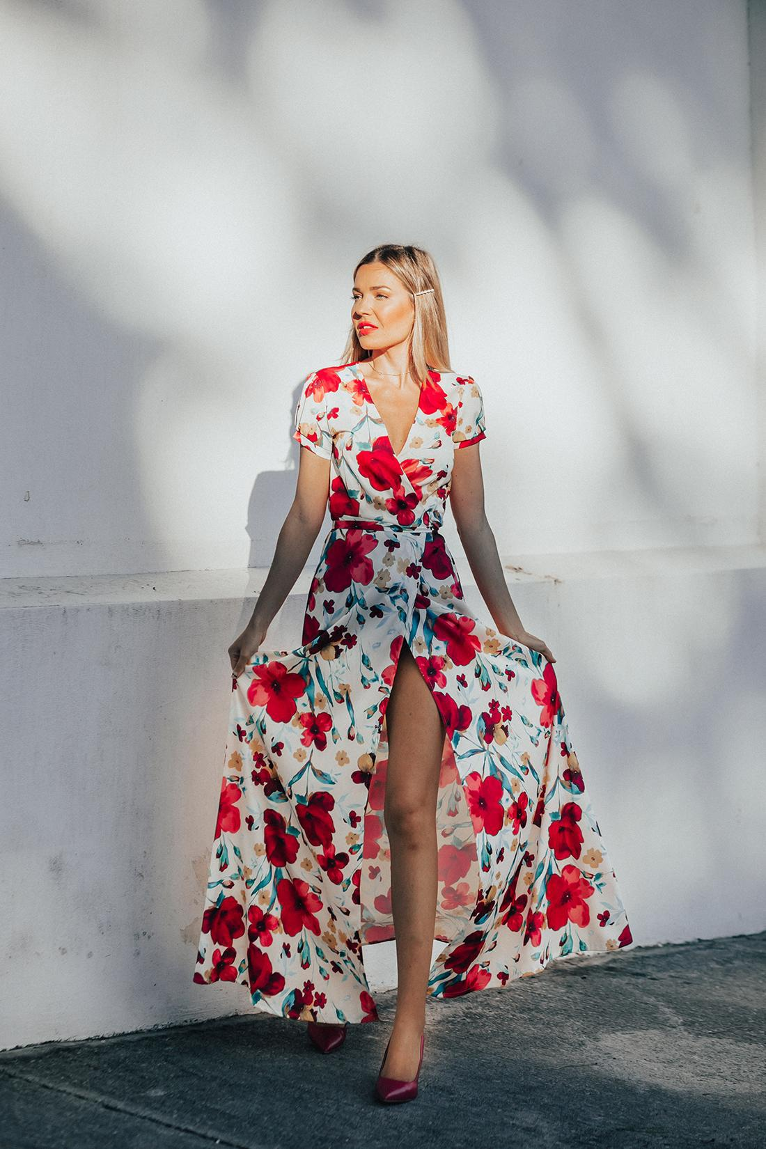 mi aventura con la moda blogger dress shoes maxi dress floral dress spring outfits