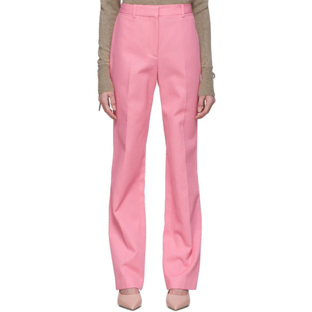 Victoria Beckham Pink High-Waisted Slim Leg Trousers