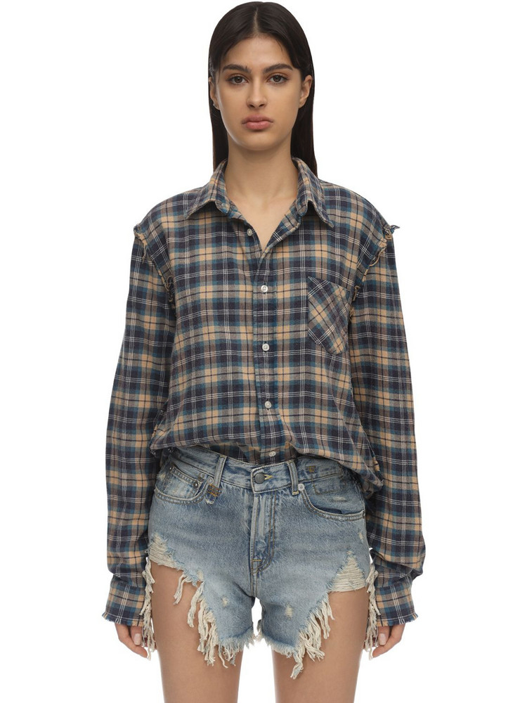 R13 Distressed Cotton Flannel Shirt in blue