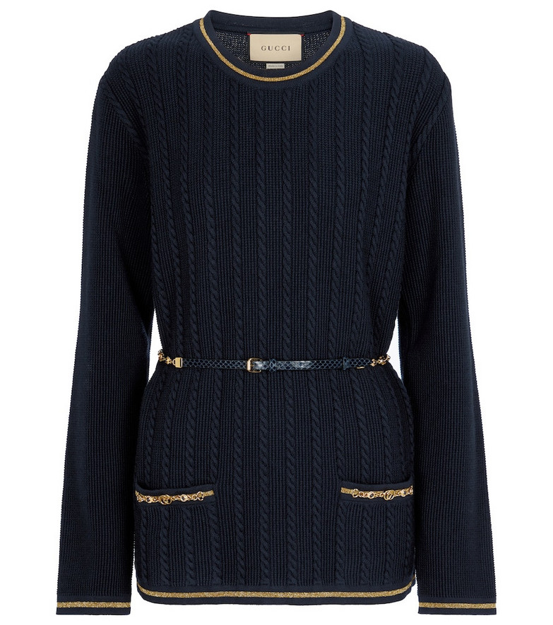 Gucci Embellished wool-blend sweater in blue