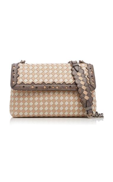 Bottega Veneta Olimpia Small Two-Tone Quilted Leather Shoulder Bag in white