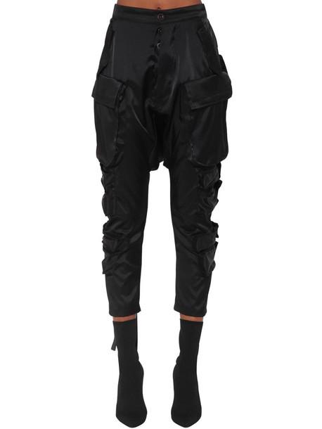 UNRAVEL Wool Blend Satin Cargo Pants in black