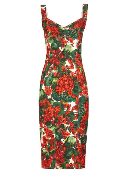 Dolce & Gabbana - Geranium Print Pannelled Midi Dress - Womens - Red Multi