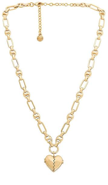 BaubleBar Heart Locket Charm Necklace in Metallic Gold