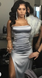 dress,celebrity style,light blue,silk dress,silk,prom dress