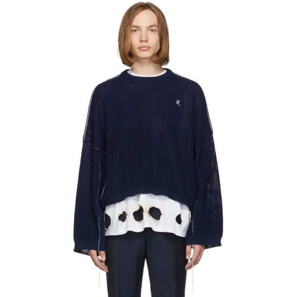 Raf Simons Blue Cropped Sweater