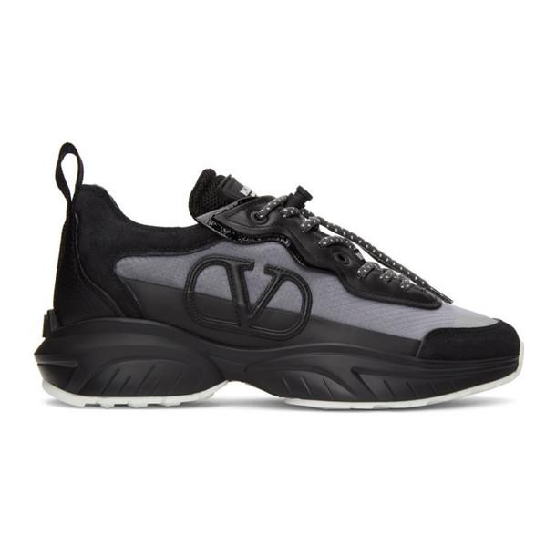 Valentino Black and Grey Valentino Garavani VLogo Sneakers