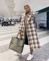 coat,long coat,oversized coat,plaid,mango,white sneakers,acne studios,dior bag,joggers