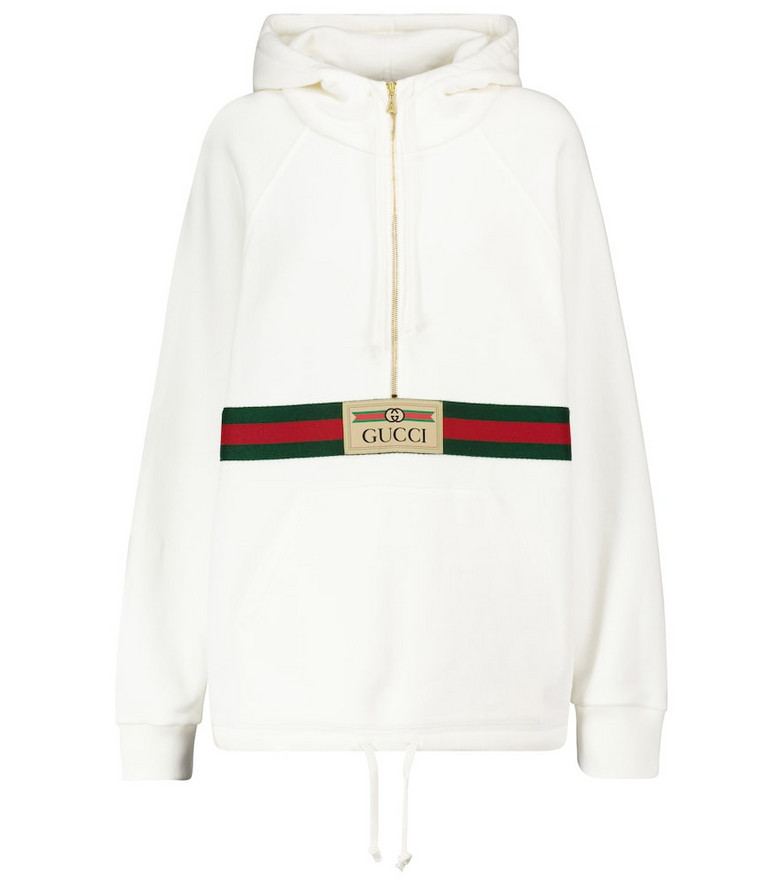 Gucci Logo cotton hoodie in white
