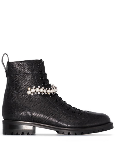 Jimmy Choo Cruz pearl-detail combat boots in black