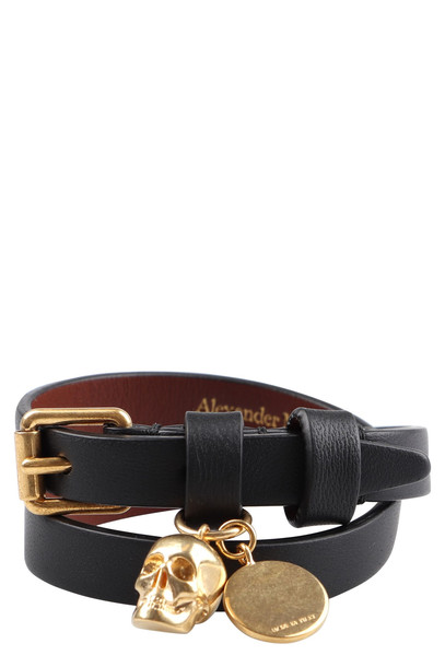 Alexander McQueen Leather Bracelet With Medallion And Skull in black