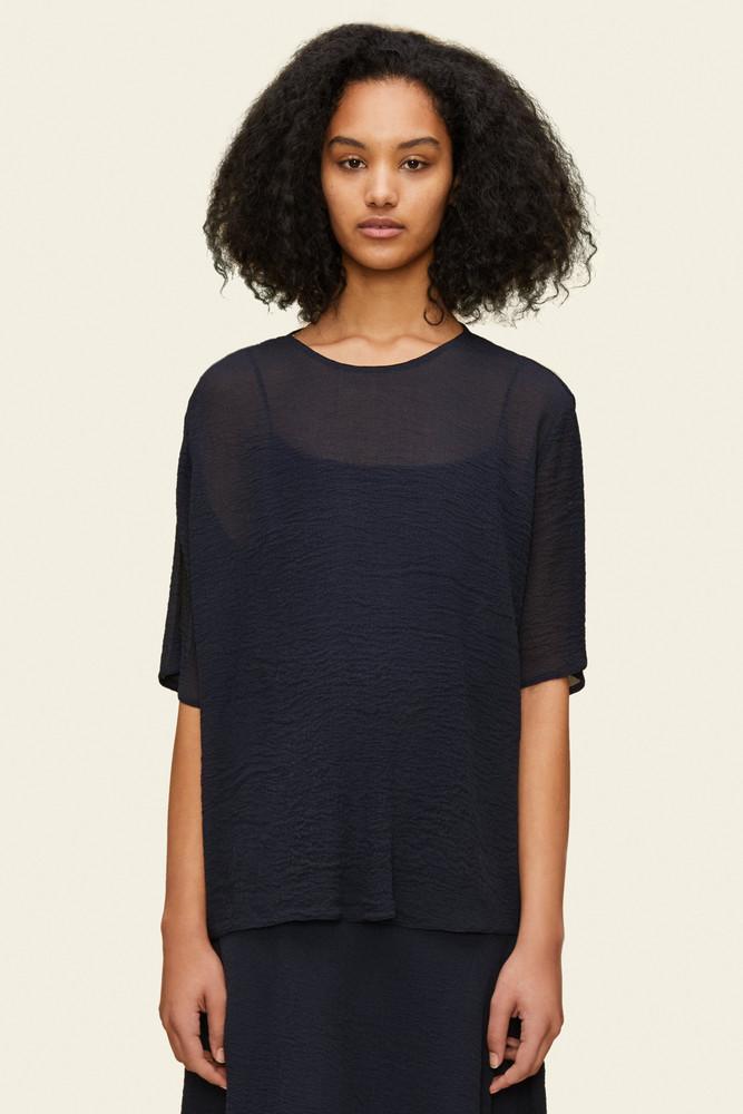 Mansur Gavriel Wavy Silk Short Sleeve Blouse - Blu