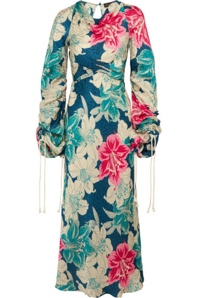 Etro - Floral-print Silk-jacquard Maxi Dress - Blue