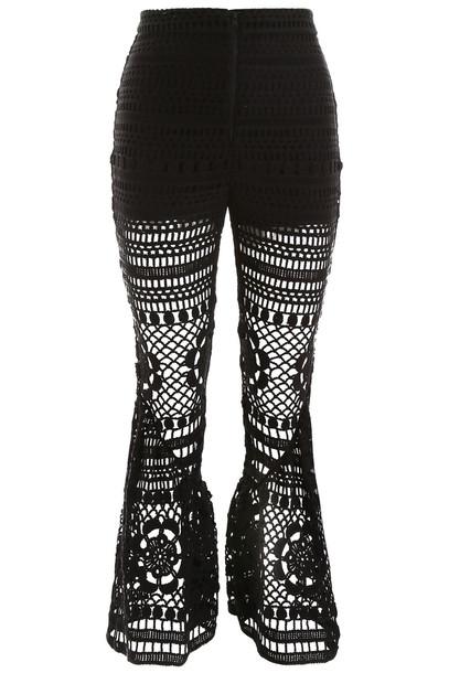 self-portrait Crochet Trousers in black