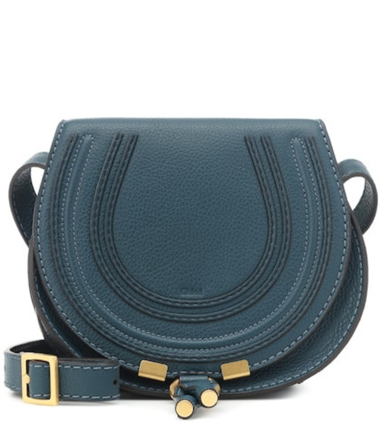 Chloé Marcie Small leather shoulder bag in blue