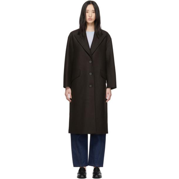 Harris Wharf London Brown Pressed Wool Oversized Great Coat